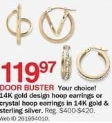 Bon-Ton Black Friday: 14k Gold Design Hoop Earrings or Crystal Hoop Earrings in 14k Gold and Sterling Silver for $119.97
