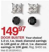 Bon-Ton Black Friday: .08-ct T.W. Diamond 10k Gold Earrings for $149.97