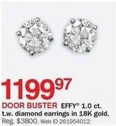 Bon-Ton Black Friday: Effy 1-ct T.W. Diamond 18k Gold Earrings for $1,199.97