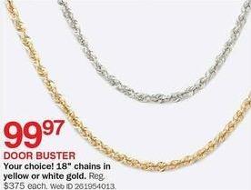 """Bon-Ton Black Friday: Yellow or White Gold 18"""" Chain for $99.97"""