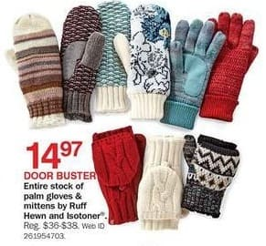 Bon-Ton Black Friday: Ruff Hewn and Isotoner Women's Mittens and Palm Gloves for $14.97