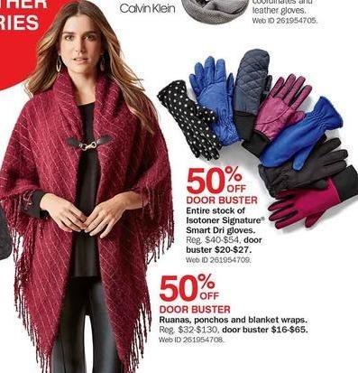 Bon-Ton Black Friday: Women's Ruanas, Ponchos and Blanket Wraps - 50% Off