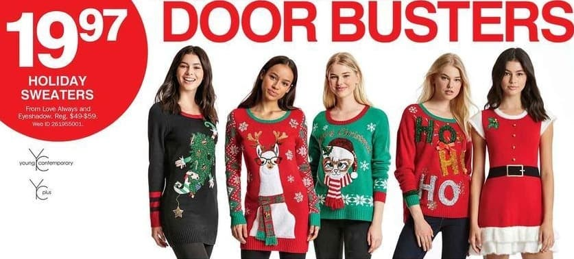 Bon-Ton Black Friday: Love Always and Eyeshadow Women's Holiday Sweaters for $19.97