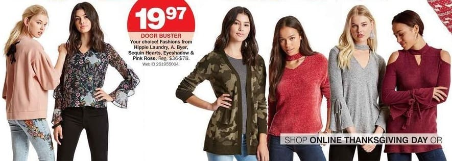 Bon-Ton Black Friday: Hippie Laundry, A. Byer, Sequin Hearts, Eyeshadow and Pink Rose Women's Fashions for $19.97