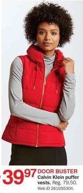 Bon-Ton Black Friday: Calvin Klein Women's Puffer Vests for $39.97