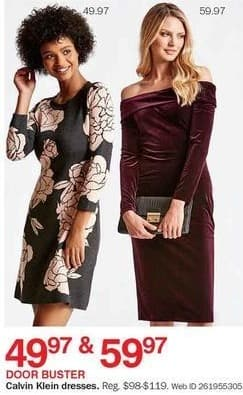 Bon-Ton Black Friday: Calvin Klein Women's Dresses for $49.97 - $59.97