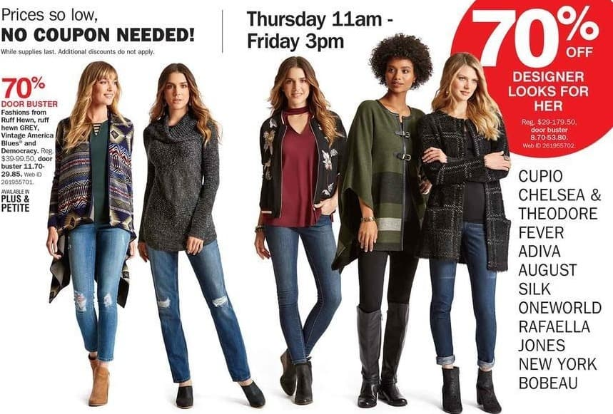 Bon-Ton Black Friday: Select Designer Women's Apparel: Cupio, Jones New York, Fever & More - 70% Off