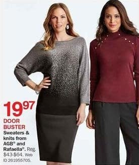 Bon-Ton Black Friday: AGB and Rafaella Sweaters and Knits for $19.97