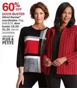Bon-Ton Black Friday: Alfred Dunner Women's Coordinates - 60% Off