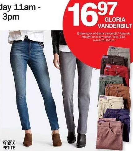Bon-Ton Black Friday: Gloria Vanderbilt Amanda Straight or Skinny Jeans for $16.97
