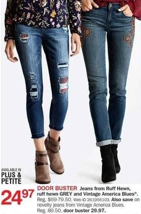 Bon-Ton Black Friday: Ruff Hewn, Ruff Hewn GREY, and Vintage America Blues Women's Jeans for $24.97