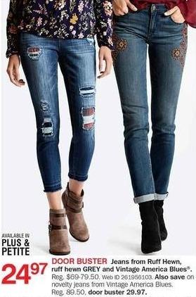 Bon-Ton Black Friday: Vintage American Blues Women's Novelty Jeans for $29.97