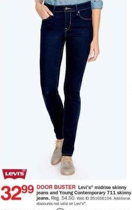 Bon-Ton Black Friday: Levi's Mid-Rise Skinny or Young Contemporary 711 Skinny Women's Jeans for $32.99