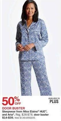 Bon-Ton Black Friday: Miss Elaine, HUE and Aria Women's Sleepwear for $14.00 - $39.00