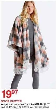 Bon-Ton Black Friday: Zoe&Bella @ BT and HUE Women's Wrap and Ponchos for $19.97