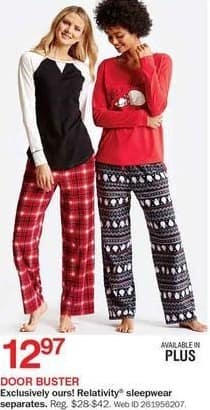 Bon-Ton Black Friday: Relativity Women's Sleepwear Separates for $12.97