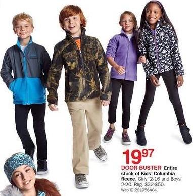 Bon-Ton Black Friday: Entire Stock Columbia Kids' Fleece for $19.97