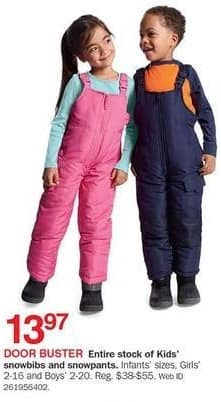 Bon-Ton Black Friday: Entire Stock Kids' Snowbibs and Snowpants for $13.97