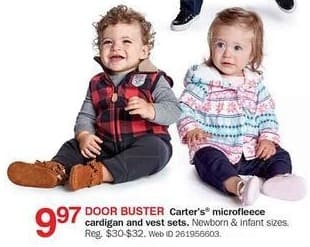 Bon-Ton Black Friday: Carter's Newborn and Infant Microfleece Cardigan and Vest Sets for $9.97