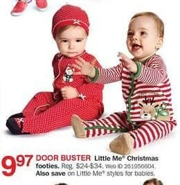 Bon-Ton Black Friday: Little Me Babies' Christmas Footies for $9.97
