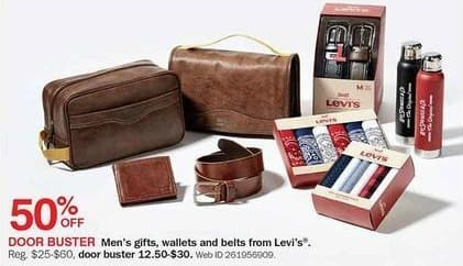 Bon-Ton Black Friday: Levi's Men's Gifts, Wallets and Belts - 50% Off