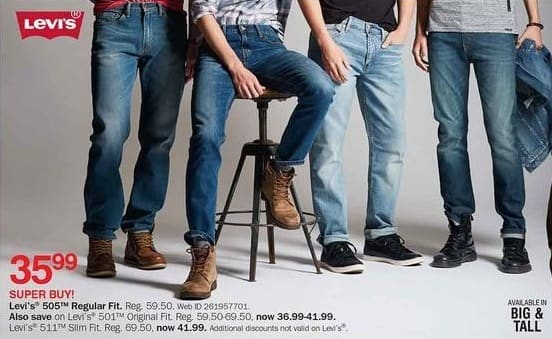 Bon-Ton Black Friday: Levi's Men's 501 Original Fit Jeans for $36.99 - $41.99