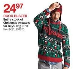 Bon-Ton Black Friday: Entire Stock Men's Christmas Sweaters for $24.97