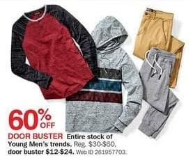 Bon-Ton Black Friday: Entire Stock Young Men's Trends for $12.00 - $24.00