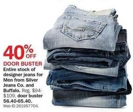 Bon-Ton Black Friday: Entire Stock Silver Jeans Co. and Buffalo Men's Designer Jeans for $56.40 - $65.40