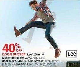 Bon-Ton Black Friday: Lee Xtreme Motion Men's Jeans for $36.99
