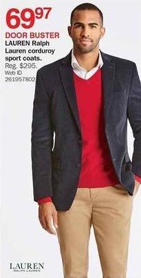 Bon-Ton Black Friday: Lauren Ralph Lauren Men's Corduroy Sport Coats for $69.97