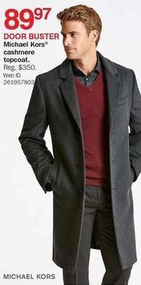 Bon-Ton Black Friday: Michael Kors Men's Cashmere Topcoat for $89.97