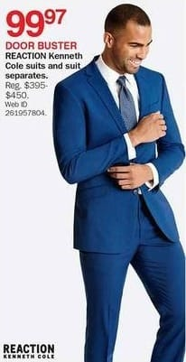 Bon-Ton Black Friday  Reaction Kenneth Cole Men s Suits and Suit Separates  for  99.97 0b366c43d