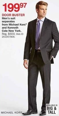 Bon-Ton Black Friday: Michael Kors and Kenneth Cole New York Men's Suit Separates for $199.97