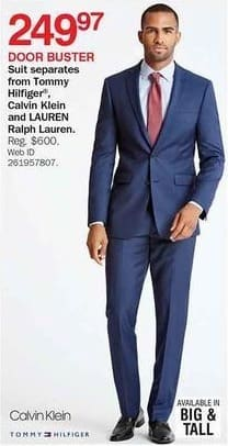 Bon-Ton Black Friday: Tommy Hilfiger, Calvin Klein and Lauren Ralph Lauren Men's Suit Separates for $249.97