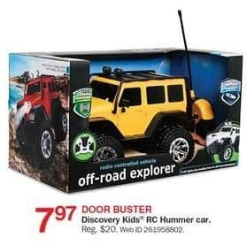 Bon-Ton Black Friday: Discovery Kids RC Hummer Car for $7.97