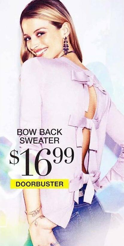 New York and Company Black Friday: Women's Bow Back Sweater for $16.99