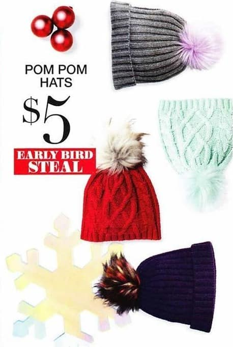 New York and Company Black Friday: Women's Ribbed and Cable-Knit Faux-Fur Pom Pom Hats for $5.00