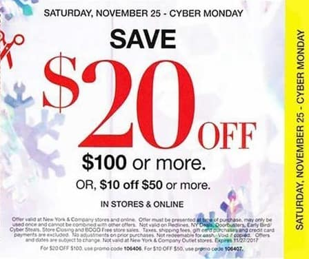 New York and Company Black Friday: Purchase of $100 or More - $20 Off