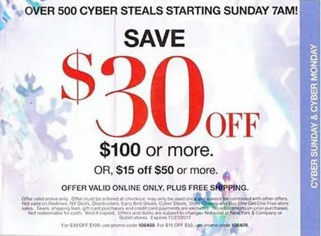 New York and Company Black Friday: Purchase of $100 or More - $30 Off