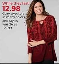 Stein Mart Black Friday: Women's Cozy Sweaters, Select Styles for $12.98