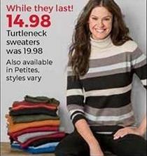 Stein Mart Black Friday: Women's Turtleneck Sweaters for $14.98