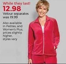 Stein Mart Black Friday: Women's Velour Separates for $12.98