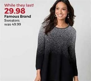 Stein Mart Black Friday: Famous Brand Women's Sweaters for $29.98
