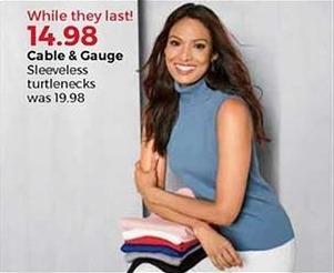 Stein Mart Black Friday: Cable & Gauge Women's Sleeveless Turtlenecks for $14.98
