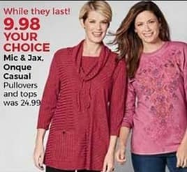 Stein Mart Black Friday: Mic & Jax and Onque Women's Casual Pullovers and Tops for $9.98