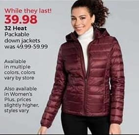 Stein Mart Black Friday: 32 Heat Women's Packable Down Jackets for $39.98