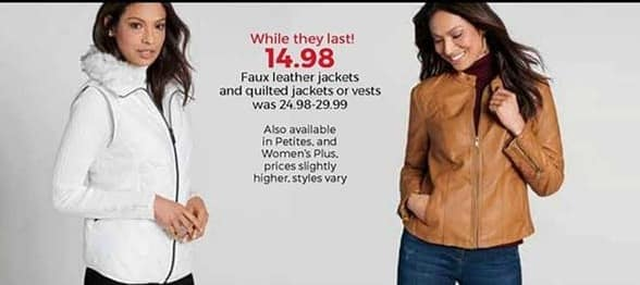 Stein Mart Black Friday: Women's Faux Leather and Quilted Jackets or Vests for $14.98
