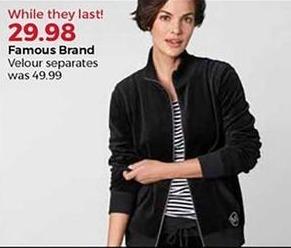 Stein Mart Black Friday: Famous Brand Women's Velour Separates for $29.98