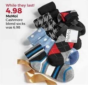 Stein Mart Black Friday: MeMoi Women's Cashmere Blend Socks for $4.98